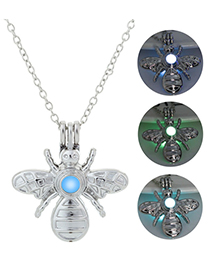 Fashion Blue Green Open Bee Luminous Necklace