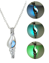 Fashion Blue Green Hollow Conch Night Bead Necklace