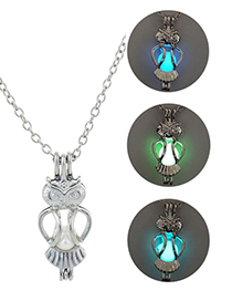 Fashion Blue Green Luminous Owl Necklace