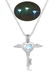 Fashion Blue Green Angel Key Hollow Angel Key Luminous Cage Necklace