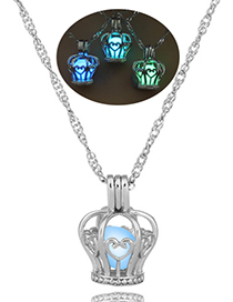 Fashion Blue And Green Admiral Hollow Luminous Cage Necklace