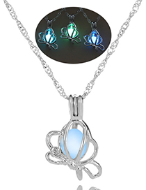 Fashion Blue Green Cross Hollow Lotus Night Pearl Necklace