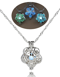 Fashion Blue And Green Rose Openwork Luminous Rose Necklace