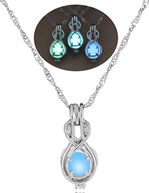 Fashion Blue Green Heart Hollow Guitar Styling Luminous Necklace