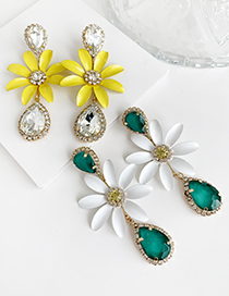 Fashion Yellow Alloy Diamond Flower Earrings