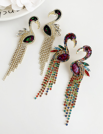 Fashion Red Alloy-studded Flamingo Tassel Earrings