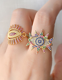 Fashion Gold Copper Inlay Zircon Eye Ring