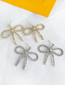 Fashion Golden Alloy Studded Bow Stud Earrings