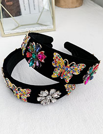 Fashion Colorful Alloy Diamond Flower Butterfly Velvet Headband