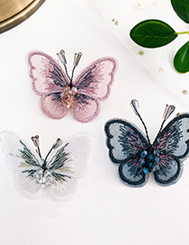 Fashion White Alloy Resin Bead Embroidery Mesh Butterfly Earrings