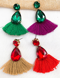 Fashion Green + Purple Alloy Diamond Drop Tassel Earrings