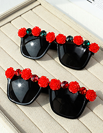 Fashion Red Resin Alloy Diamond Flower Square Sunglasses