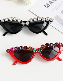 Fashion Black Diamond Diamond Cat Eye Sunglasses