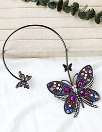 Fashion Gun Black Butterfly Necklace With Alloy Diamonds