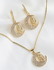 Fashion Golden Our Lady Of Crescent Moonstone Necklace