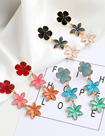 Fashion Red Alloy Drip Flower Starfish Earrings