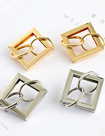Fashion Gold Color Alloy Square Round Buckle Earrings