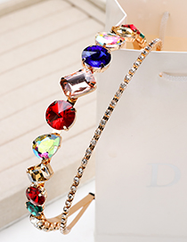 Fashion Colorful Alloy Diamond-set Geometric Drill Double-layer Hair Hoop