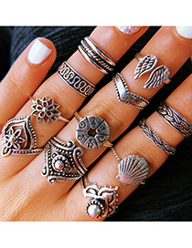 Fashion Silver Alloy Wing Shell Ring Set