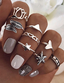 Fashion Silver Alloy Starfish Leaf Five-pointed Star Ring Set