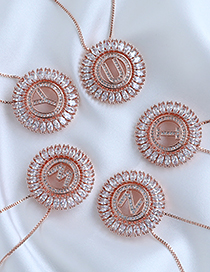 Fashion H Round Alphabet Necklace With Copper And Zircons
