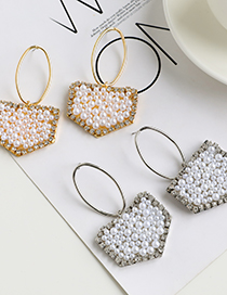 Fashion Silver Geometrical Pearl Earrings With Alloy Pearls And Diamonds