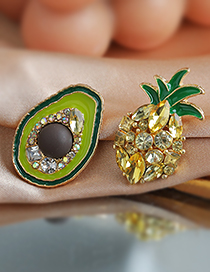 Fashion Color Alloy Diamond Avocado Pineapple Stud Earrings