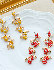 Fashion Yellow Alloy Diamond Earrings With Fruit Branches
