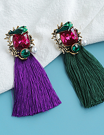 Fashion Ginger+blue Geometric Fish Tassel Earrings With Alloy Diamonds