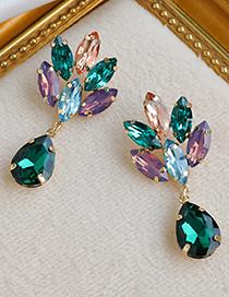 Fashion Green Alloy Diamond Drop Diamond Stud Earrings