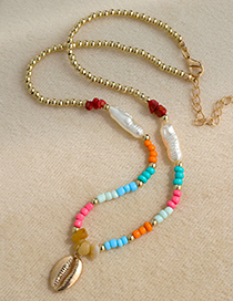 Fashion Color Alloy Resin Pearl Shell Double Necklace