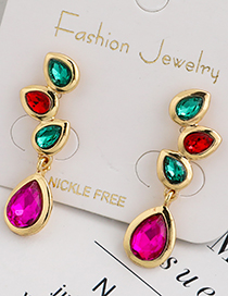 Fashion Color Alloy Diamond Drop Earrings