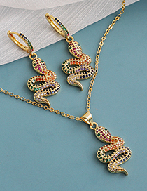Fashion Color Copper Inlaid Zircon Serpentine Necklace