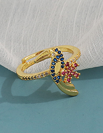 Fashion Golden Copper Inlaid Zircon Parrot Ear Ring