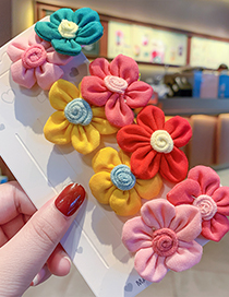Fashion Pink Green Flowers [hairpin] Resin Alloy Knitted Flower Hit Color Hairpin Hair Rope