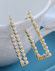Fashion Golden Alloy Pearl Hollow Square Earrings