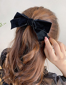 Fashion Long Tail Bow Big Bow Fabric Alloy Hairpin