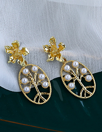 Fashion Gold Color Alloy Flower Pearl Branch Stud Earrings