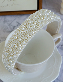 Fashion White Non-woven Pearl Headband