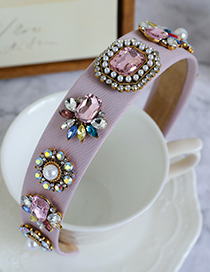 Fashion Pink Alloy Diamond-studded Geometric Headband
