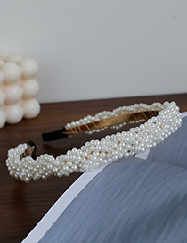 Fashion White Alloy Pearl Braided Headband