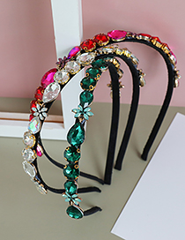 Fashion Green Alloy Diamond-studded Water Drop Headband