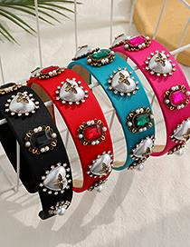 Fashion Red Fabric Diamond-studded Pearl Love Headband