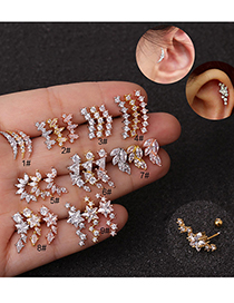 Fashion Moon Rose Gold Stainless Steel Five-pointed Star Geometric Zircon Screw Copper Gold-plated Earrings
