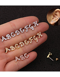 Fashion A Golden Letter Micro Inlaid Zircon Screw Stainless Steel Earrings