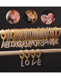 Fashion A Golden Micro-set Zircon Letters Gold-plated Geometric Pendant Earrings