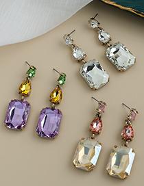 Fashion Champagne Alloy Diamond Drop Earrings