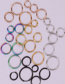 Fashion Steel Color 14mm Round Stainless Steel Smooth Earrings