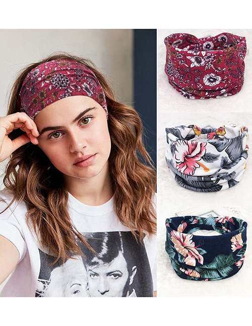 Fashion Gray Flowers Printed Pleated Buttons Sweat-absorbent Elastic Knotted Headband