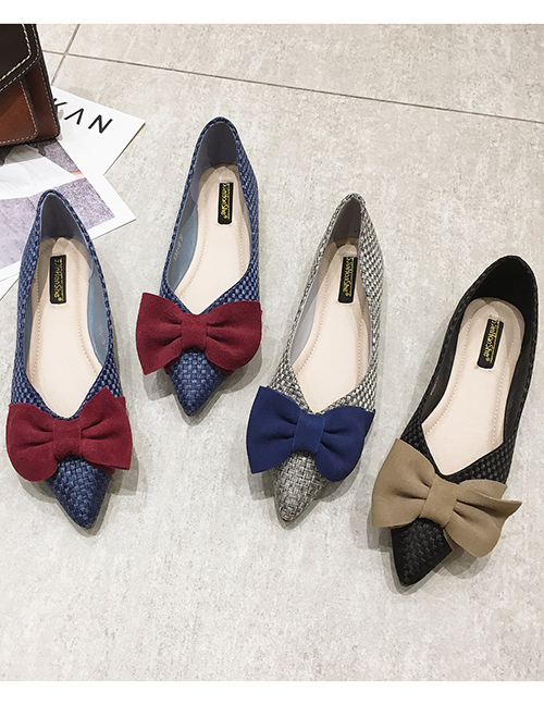 Fashion Black Pointed Shallow Bow Woven Single Shoes